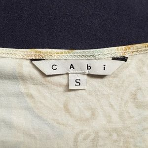 CAbi Tops - CAbi V-Neck Aqua Lt. Blue White Gold Orient Shirt